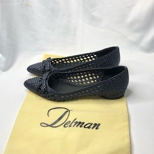 Delman Black Braided Pointed Toe Flats